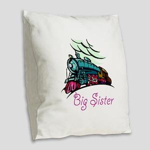 Big Sister Rolling Train Burlap Throw Pillow