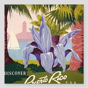 "Discover Puerto Rico Square Car Magnet 3"" x 3"""