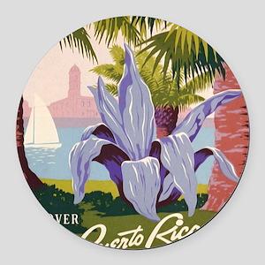 Discover Puerto Rico Round Car Magnet