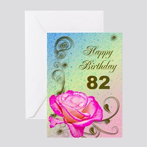 82nd Birthday Elegant rose Greeting Card