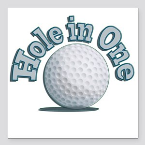 """Hole in One (txt) Square Car Magnet 3"""" x 3"""""""