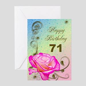 71st Birthday Elegant rose Greeting Card