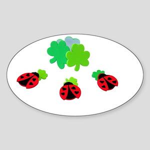 Lucky Ladybugs Sticker (Oval)