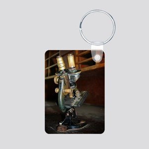 Old Microscope Aluminum Photo Keychain