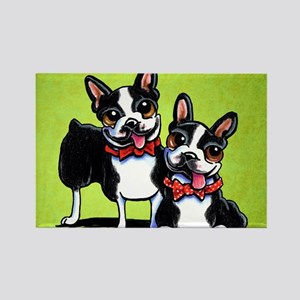 Bostons Wearing Bowties Rectangle Magnet