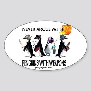 Penguins with Weapons Oval Sticker
