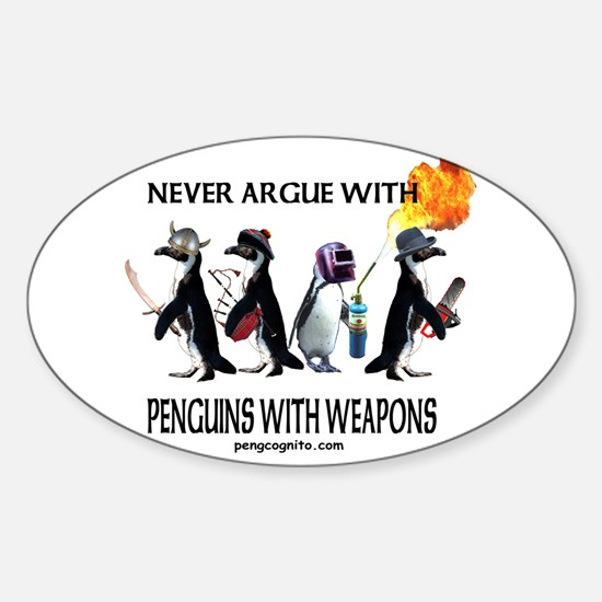 Penguins with Weapons Oval Decal