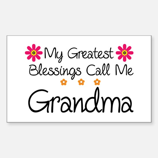 Blessings Grandma Sticker (Rectangle)