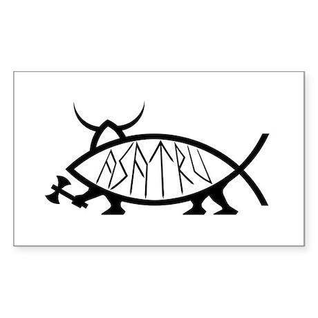 Asatru Fish Rectangle Sticker