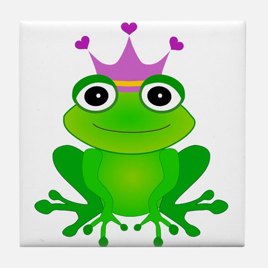 Purple Crown Frog Prince Tile Coaster