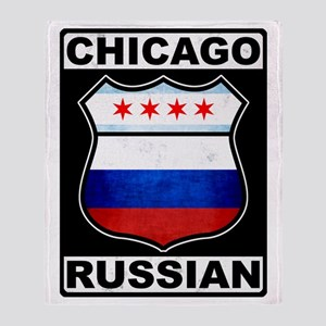 Chicago Russian American Sign Throw Blanket