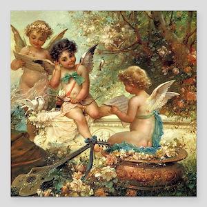 "Victorian Angels by Zatz Square Car Magnet 3"" x 3"""