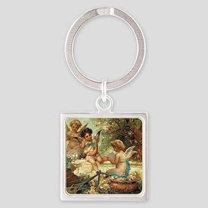 Victorian Angels by Zatzka Square Keychain