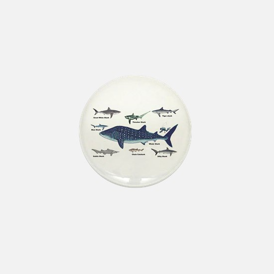 Shark Types Mini Button