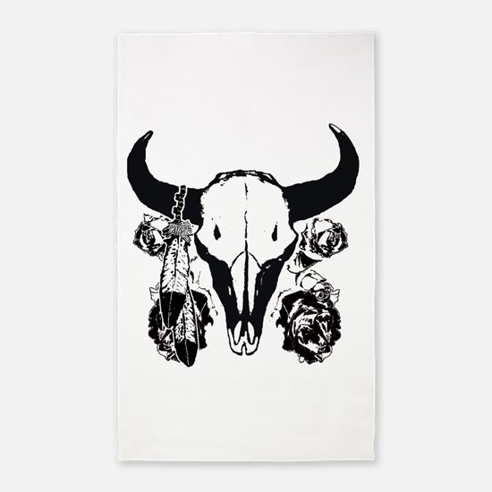 Roses and bison skull 3'x5' Area Rug