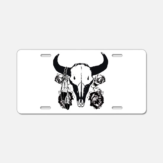 Roses and bison skull Aluminum License Plate