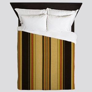 Bold Black and Tan Striped Queen Duvet