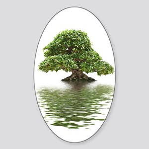 ficus water reflection Sticker (Oval)