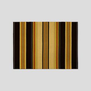 Bold Black and Tan Striped 5'x7'Area Rug