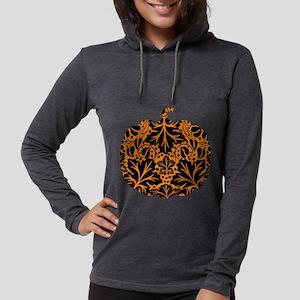 Damask Pattern Pumpkin Womens Hooded Shirt