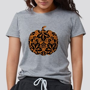 Damask Pattern Pumpkin Womens Tri-blend T-Shirt