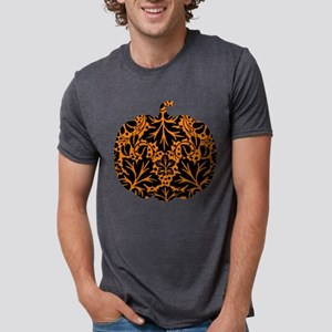 Damask Pattern Pumpkin Mens Tri-blend T-Shirt