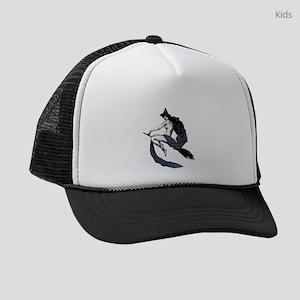 Vintage Flying Witch Kids Trucker hat