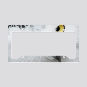 white snowy owl face closeup License Plate Holder