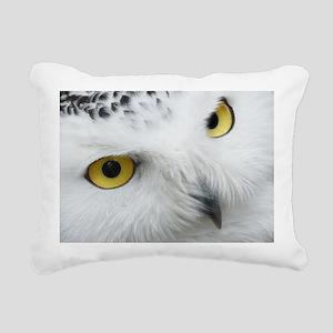 white snowy owl face clo Rectangular Canvas Pillow