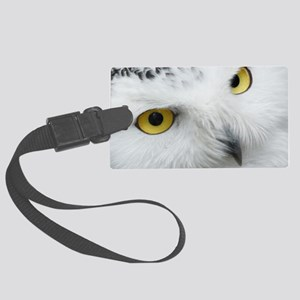 white snowy owl face closeup Large Luggage Tag