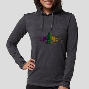 fleur-de-lis-swirls_color Womens Hooded Shirt