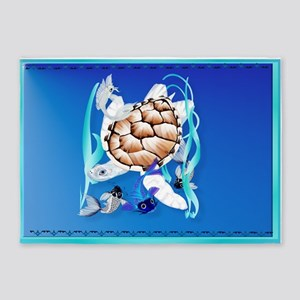 Big White Turtle and Friends 5'x7'Area Rug