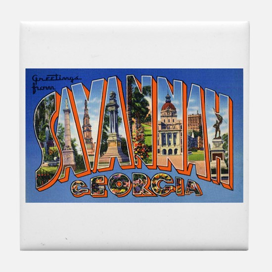 Savannah Georgia Greetings Tile Coaster