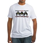 No Evil Penguins Fitted T-Shirt