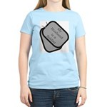 My Husband is a Soldier dog tag Women's Pink T-Sh