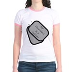 My Husband is a Soldier dog tag Jr. Ringer T-Shir