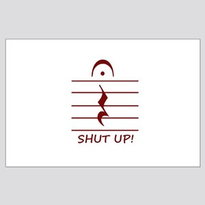 music notation shut up maroon Posters