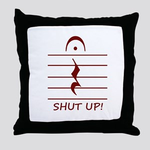 music notation shut up maroon Throw Pillow