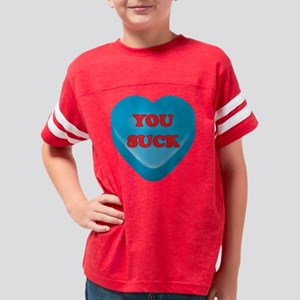 YouSuck_hrt_blu Youth Football Shirt