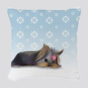 ByCatiaCho Yorkie L.Thinker Woven Throw Pillow