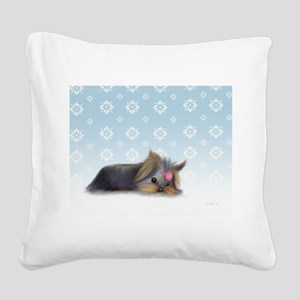 ByCatiaCho Yorkie L.Thinker Square Canvas Pillow