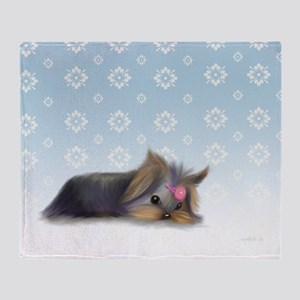 ByCatiaCho Yorkie L.Thinker Throw Blanket