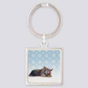 ByCatiaCho Yorkie L.Thinker Square Keychain
