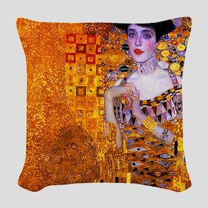 Klimt: Adele Bloch-Bauer I. Woven Throw Pillow