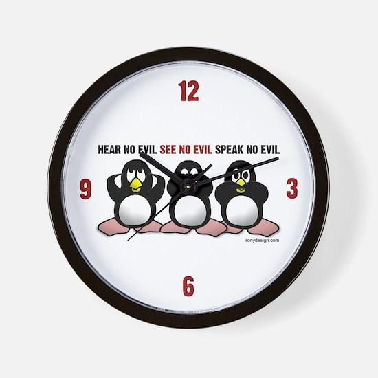 No Evil Penguins Wall Clock