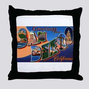 San Diego California Greetings Throw Pillow