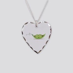 Pink Flower Necklace Heart Charm