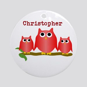 Red Owls Customize Ornament (Round)