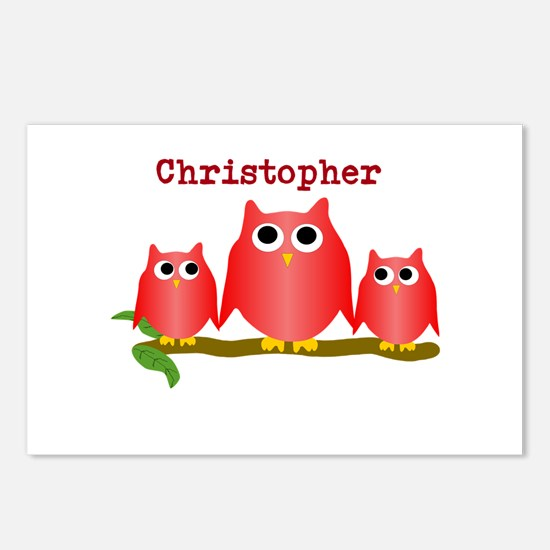 Red Owls Customize Postcards (Package of 8)