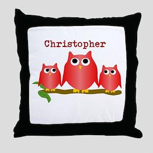 Red Owls Customize Throw Pillow